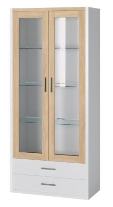 Vitrína Oslo - Vitrína 2x dveře,police + LED osvětlení (dub sonoma/bílá)