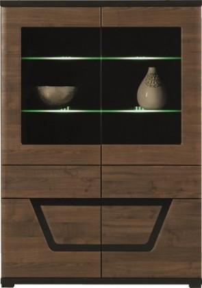 Vitrína Tes - Vitrína, 2x dveře, 3x police, LED (ořech, korpus a fronty)