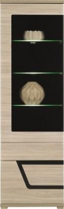 Vitrína Tes - Vitrína levá, dveře, police, LED (jilm, korpus a fronty)
