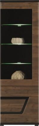 Vitrína Tes - Vitrína pravá, dveře, police, LED (ořech, korpus a fronty)