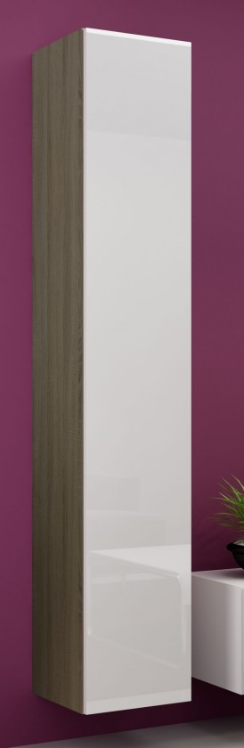 Vitrína Vigo - Vitrína závěsná 180, 1x dveře (dub sonoma/bílá lesk)