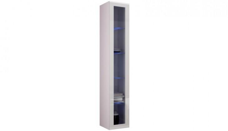 Vitrína Vigo - Vitrína závěsná 180, 1x dveře sklo (bílá mat/bílá VL)