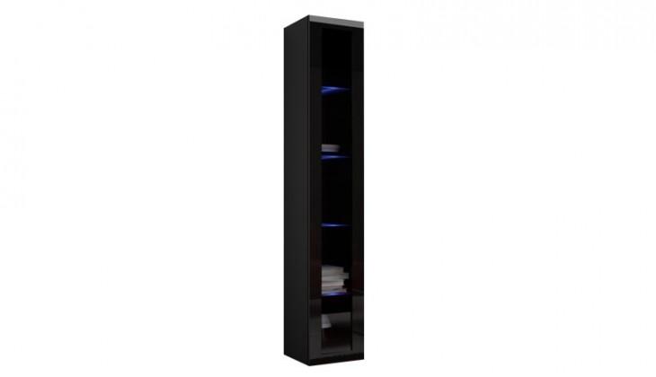 Vitrína Vigo - Vitrína závěsná 180, 1x dveře sklo (černá mat/černá VL)