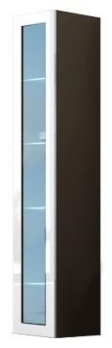 Vitrína Vigo - Vitrína závěsná 180, 1x dveře sklo (latte/bílá lesk)