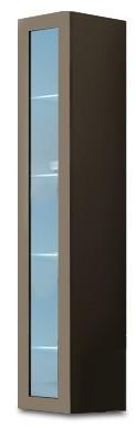 Vitrína Vigo - Vitrína závěsná 180, 1x dveře sklo (latte/latte lesk)