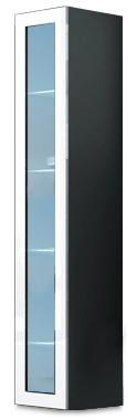 Vitrína Vigo - Vitrína závěsná 180, 1x dveře sklo (šedá/bílá lesk)