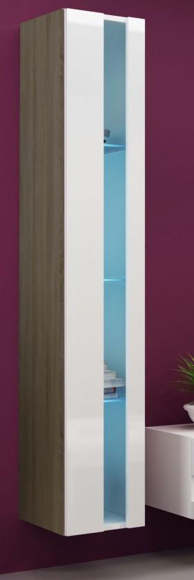 Vitrína Vigo - Vitrína závěsná 180,dveře bez skla (dub sonoma/bílá lesk)