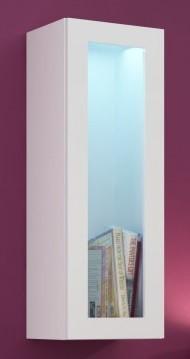 Vitrína Vigo - Vitrína závěsná, 1x dveře sklo (bílá mat/bílá VL)