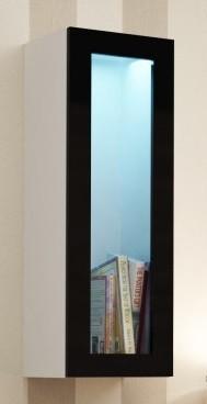 Vitrína Vigo - Vitrína závěsná, 1x dveře sklo (bílá mat/černá VL)