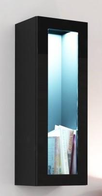 Vitrína Vigo - Vitrína závěsná, 1x dveře sklo (černá mat/černá VL)