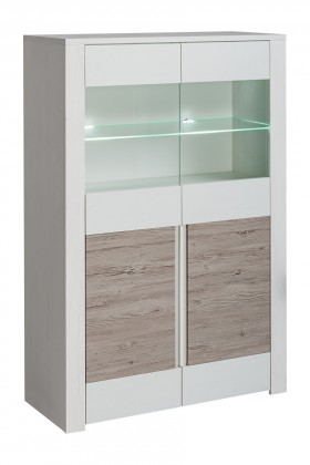 Vitrína Vitrína Alvo - 2dvířka,sklo (andersen white pine/andersen beige)