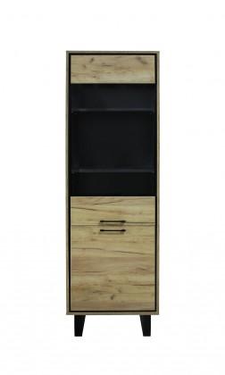 Vitrína Vitrína Brick (1 zásuvka, dveře, dub, černá)