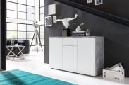 Viva - Obývací komoda střední (cement šedá/bílá)