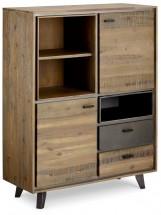 Vysoká komoda Mety (2x zásuvka, 2x dveře, dřevo, hnědá)
