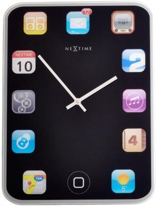 Wall pad - hodiny, nástěnné, hranaté (sklo, černé)