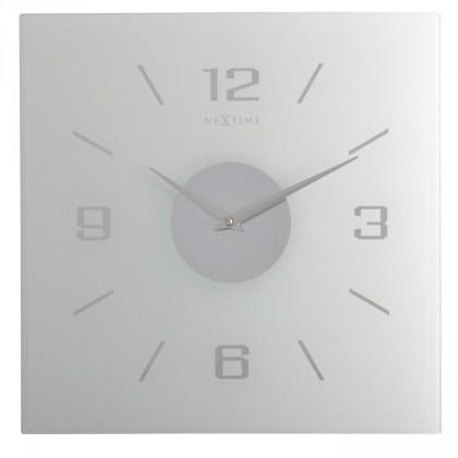 Willie - hodiny, nástěnné, hranaté (mléčné sklo, bílé)