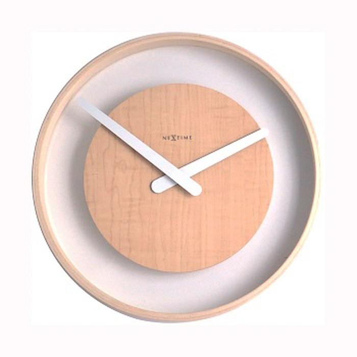 Wood loop - hodiny, nástěnné, kulaté (sklo, dřevo, bílé)