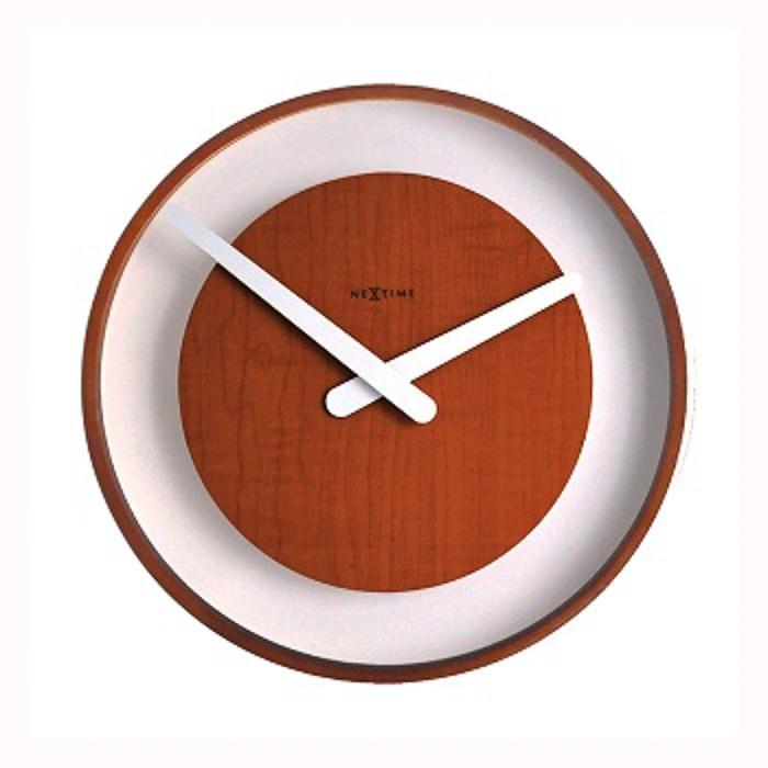 Wood loop - hodiny, nástěnné, kulaté (sklo, dřevo, černé)