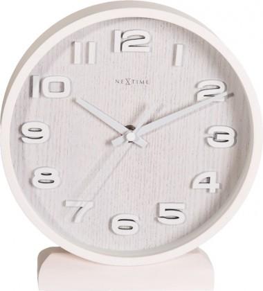 Wood Wood small - hodiny, stojaté, kulaté (dřevo, bílé)