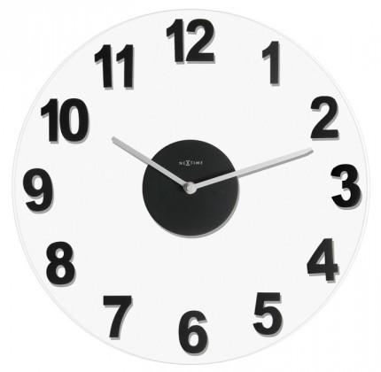 Woody - hodiny, nástěnné, kulaté (sklo, dřevo, černé)