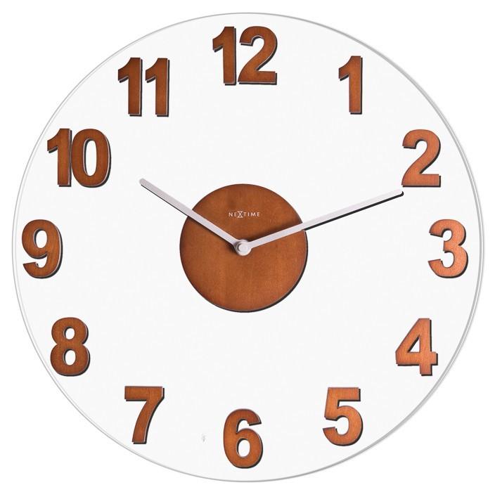 Woody - hodiny, nástěnné, kulaté (sklo, dřevo, hnědé)