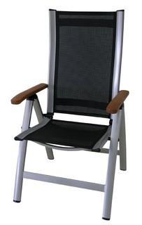 Zahradní křeslo Comfort - Polohovací křeslo (stříbrná, černá )