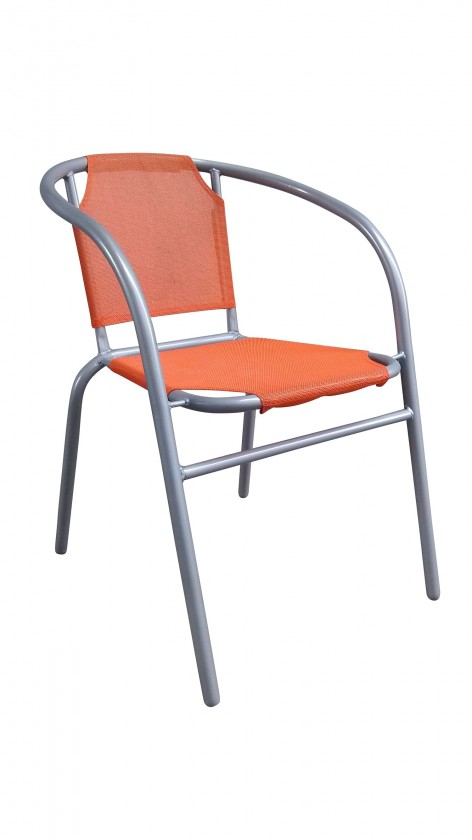 Zahradní křeslo Ocelové křesílko textilen (oranžová)