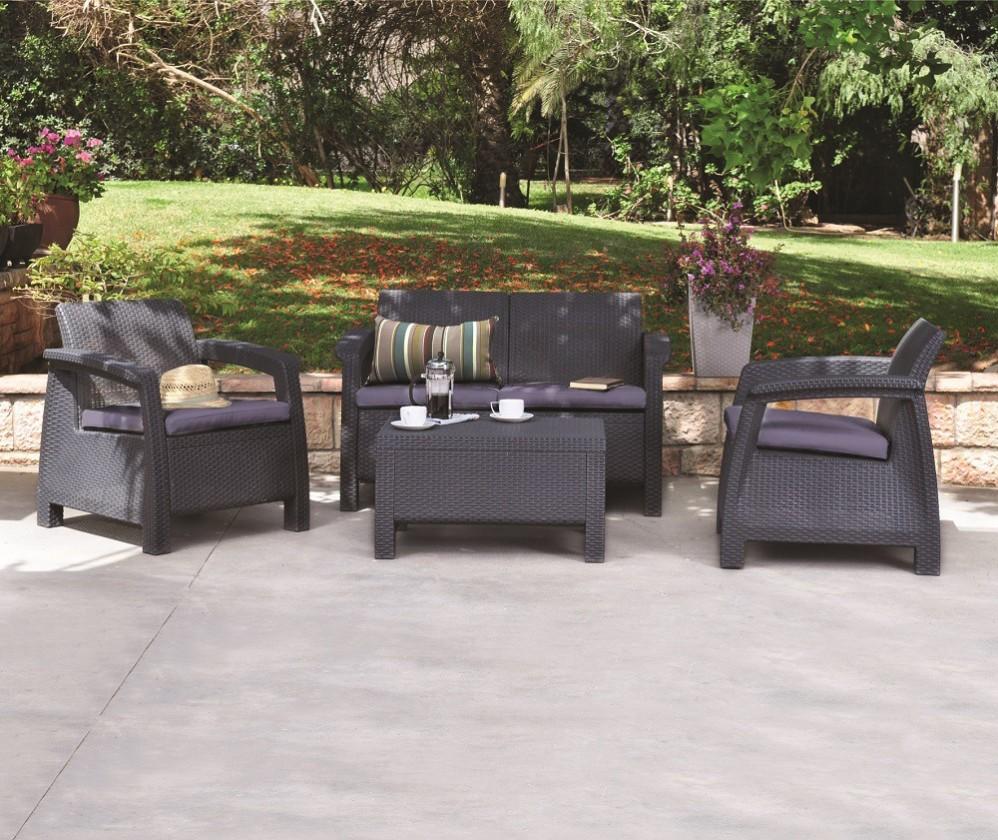 Zahradní sety Corfu II - Set (černá, šedá)