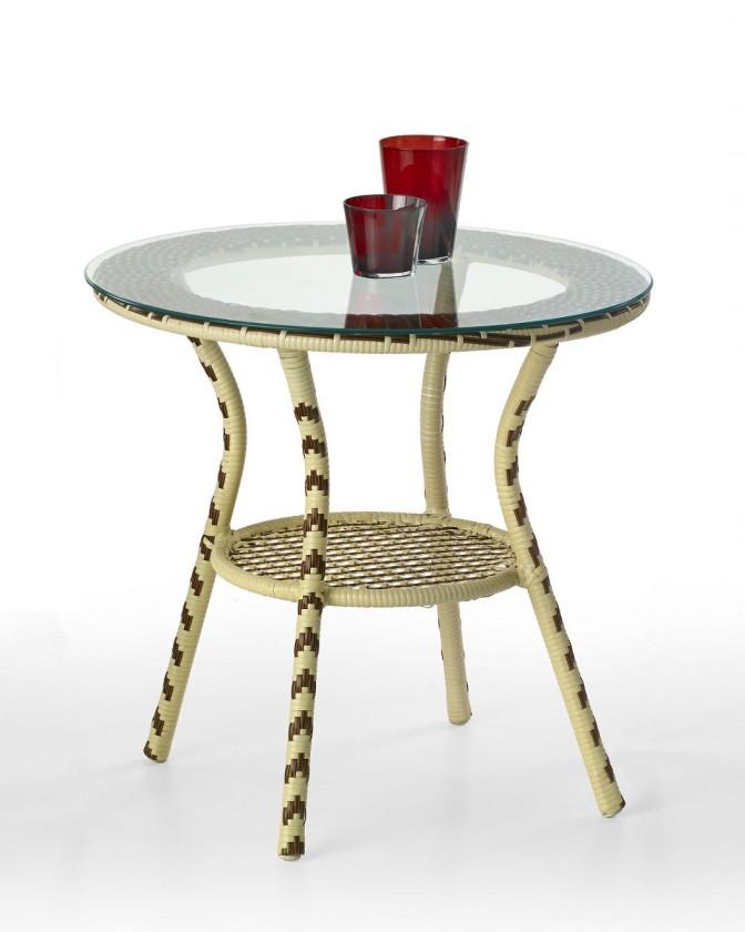 Zahradní stůl Fleming (hnědo-béžový / čiré sklo)