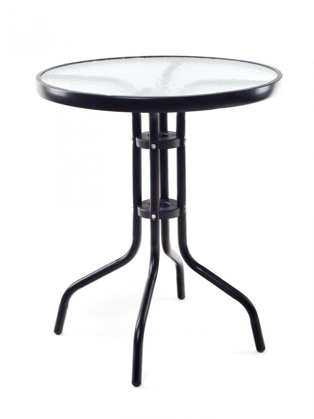 Zahradní stůl Stolek kovový se skleněnou deskou (černá)