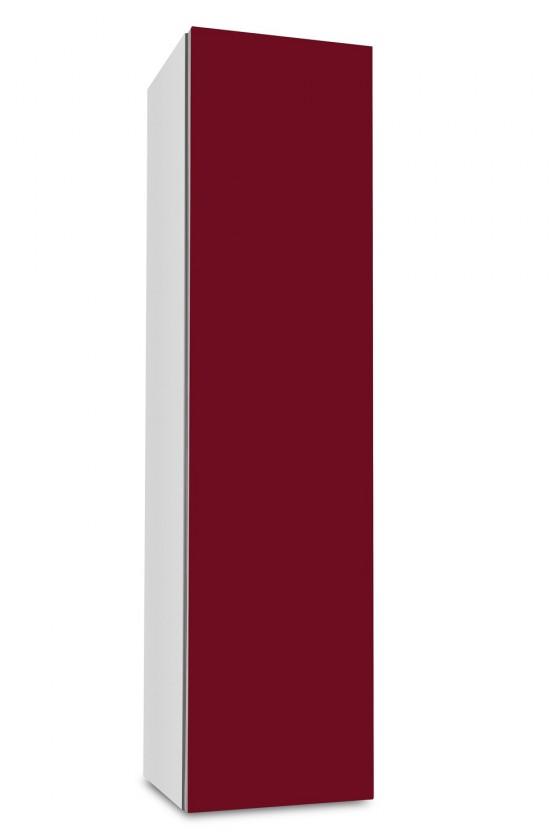 Závěsná Brisbane - závěsná skříň nízká,panty vpravo (bílá/bordó)
