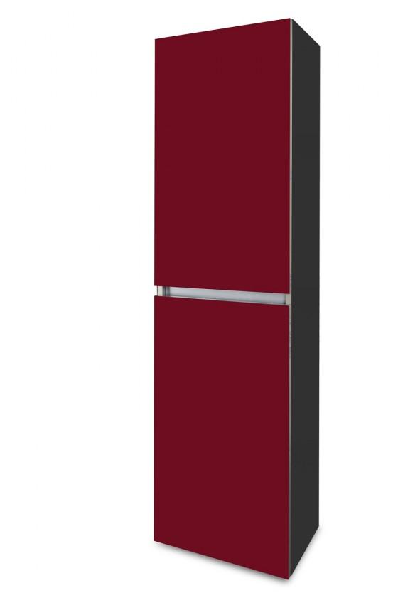 Závěsná Brisbane - závěsná skříň vysoká,panty vlevo (antracit/bordó)