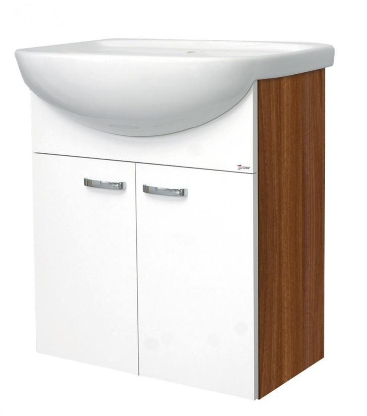 Závěsná Melbourne - Skříňka s umyvadlem 55cm (ořech/bílá)