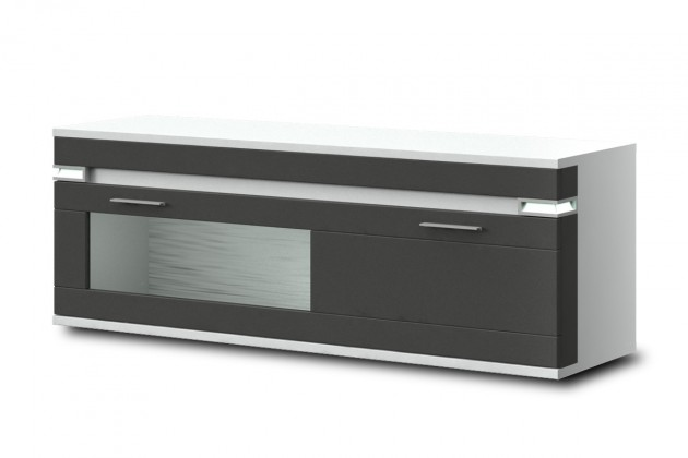 Závěsná skříňka Bow Typ 21 (bílá arctic LDTD / grafit vysoký lesk MDF)