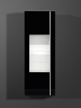 Závěsná skříňka Freestyle - Závěsná vitrína, 1502-73 (bílá/černé sklo)