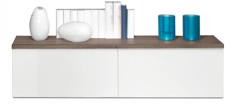 Závěsná skříňka Linea - závěsný prvek, 120 cm (dub tmavý/bílá lak/dub tmavý)