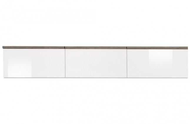 Závěsná skříňka Linea - závěsný prvek, 180 cm (dub tmavý/bílá lak/dub tmavý)