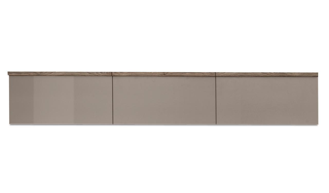 Závěsná skříňka Linea - závěsný prvek, 180 cm (dub tmavý/šedý kám.lak/dub tmavý)