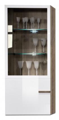 Závěsná skříňka Linea - závěsný prvek, 60 cm (dub tmavý/bílá lak/dub tmavý)