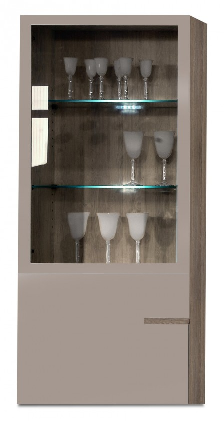 Závěsná skříňka Linea - závěsný prvek, 60 cm (dub tmavý/šedý kám.lak/dub tmavý)