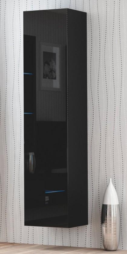 Závěsná skříňka Livo - Závěsná skříňka 180 (černá mat/černá lesk)