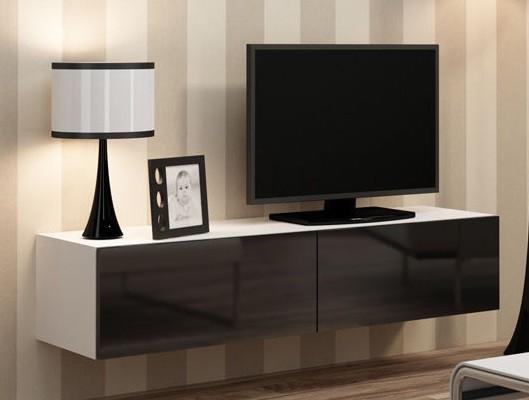Závěsná skříňka Vigo - TV komoda 140 (bílá mat/černá VL)