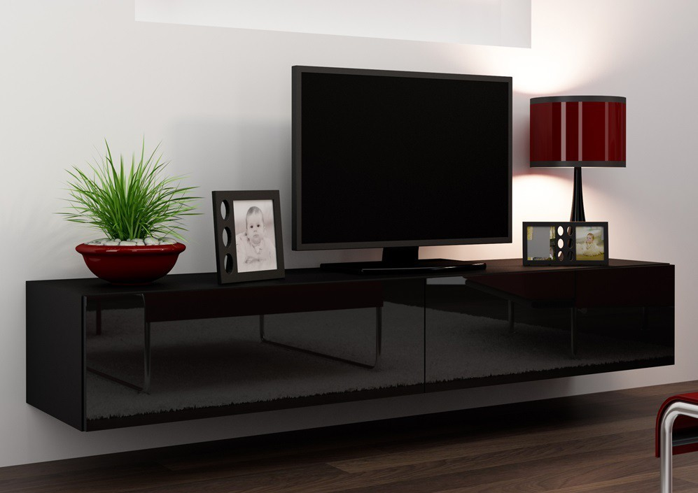 Závěsná skříňka Vigo - TV komoda 180 (černá mat/černá VL)