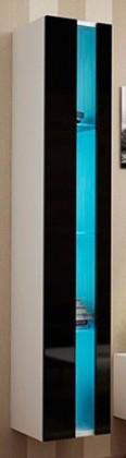 Závěsná skříňka Vigo - Vitrína závěsná 180,1x dveře bez skla (bílá mat/černá VL)