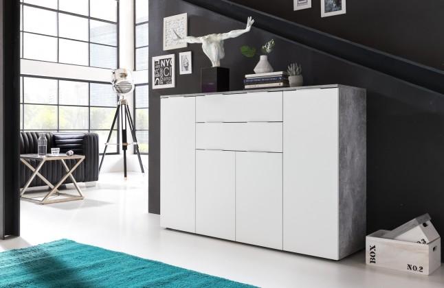 Zlevněné komody Viva - Obývací komoda velká (cement šedá/bílá) - II. jakost