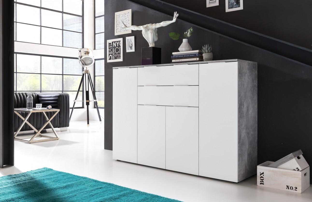 Zlevněné komody Viva - Obývací komoda velká (cement šedá/bílá)