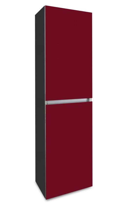 Zlevněné koupelnové vybavení Brisbane - závěsná skříň vysoká,panty vpravo (antracit/bordó)