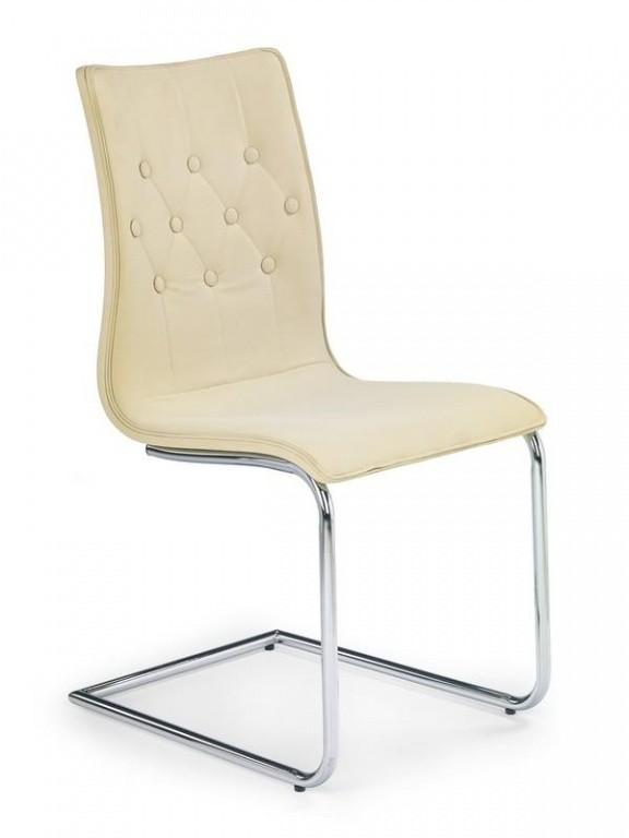 Zlevněné kuchyně, jídelny Jídelní židle K149 (béžová,chromovaná ocel/ekokůže) - II. jakost