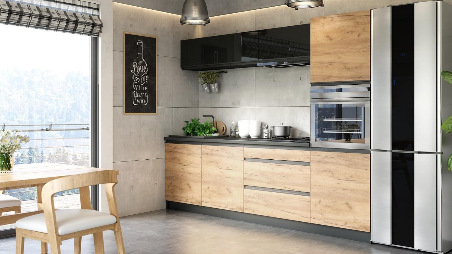 Zlevněné kuchyně, jídelny Kuchyně Brick - 260 cm (černá vysoký lesk/craft) - II. jakost