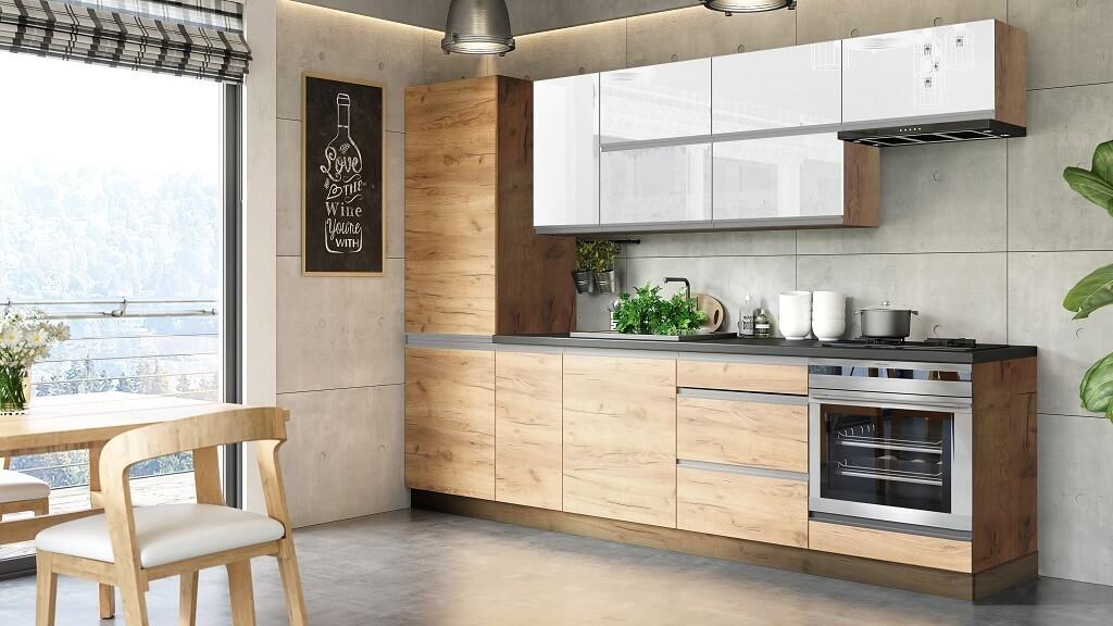Zlevněné kuchyně, jídelny Kuchyně Brick light 280 cm (bílá lesk/craft) - II. jakost